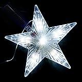 LQZ Tannenbaum Spitze Beleuchtet Weihnachtsbaumspitze Christbaumspitze Stern LED - Weiß
