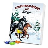 Adventskalender mit Namen Lenya und Pferde-Motiv in Winterlandschaft für Mädchen   Gefüllt mit Schokolade   Weihnachts-Kalender   24 Türchen