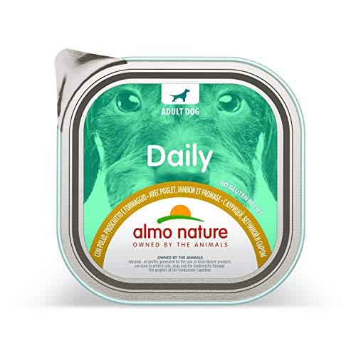Almo Nature Daily Menu Dog No Grain paté con Pollo, prosciutto e Formaggio, 300g, Confezione da 9