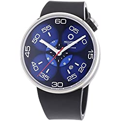 Meccaniche Veloci Quattro Valvole 3 Hand Men's Automatic Watch with Blue Dial Analogue Display and Black Rubber Strap W127N277497024