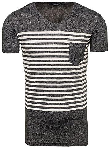 BOLF – T-shirt à manches courtes – Party – Slim fit MADMEXT 1849 – Homme – XXL Noir [3C3]