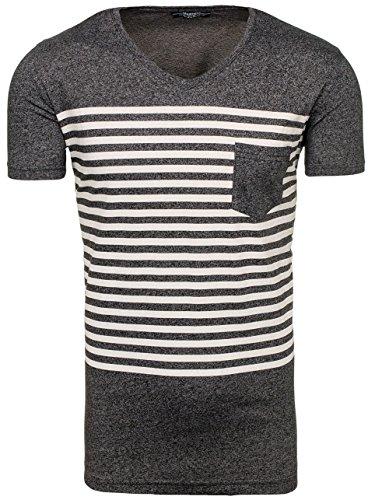 BOLF Herren T-Shirt Tee Kurzarm Rundhals Slim Fit Print Classic MADMEXT 1849 Schwarz