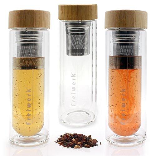 freiwerk Tee Thermos Flasche Zubereiter Teebereiter Sieb Infuser Glas doppelwandig BPA-Frei Neopren Hülle Schwarz