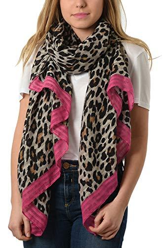 Style Slice Damen Schal Leopardenmuster - Leopard Scarf - Leoprint Rot Gelb Blau Pink Rosa - Damenschals Tuch Schals Halstuch Schultertuch - XL Oversized Stolas Frauen - Geschenk (Creme/Rose)