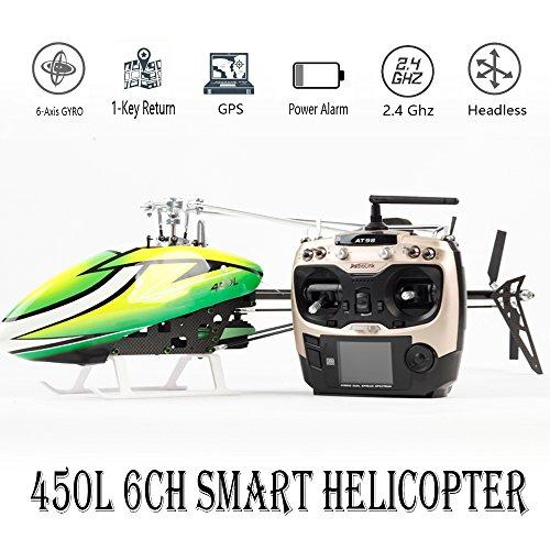 JCZK 6CH Smart 450L RC Hubschrauber RTF Hubschrauber GPS Bürstenlosen Flugzeug AT9S 6CH Einzelnen Propeller Aileronless Drone Modell Spielzeug (450 3d Hubschrauber)