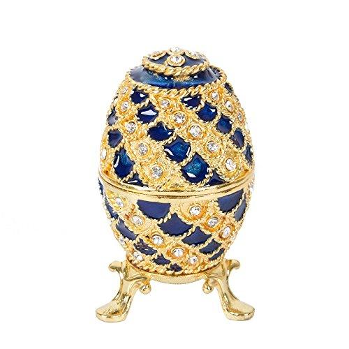 Qifu handbemaltes Ei im Faberge-Stil, emailliert, dekoratives, aufklappbares Schmuckkästchen, einzigartiges Geschenk für Wohndeko -