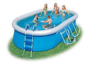 bestway oval fast set above ground pool blue 16 ft sports outdoors. Black Bedroom Furniture Sets. Home Design Ideas