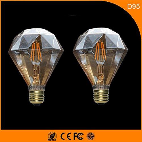 OOFAY 2 STÜCKE D95 Diamant Led-lampe 3 Watt 360 Grad Beleuchtet AC220V Einstellbare Glühfaden Glühbirne Warmes Weiß 500LM Bernstein, 95 * 138 (mm)