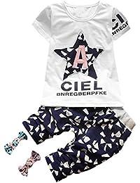 iBaste Niños Niñas Conjuntos Camiseta cortos Pantalones de la Moda 2016 Nuevo Camisa T-shirt para bebes conjuntos de vestir