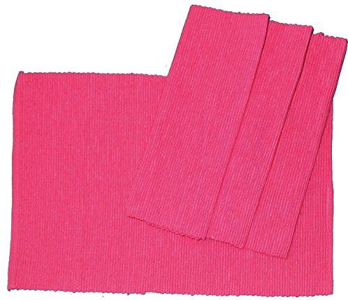 4er Pg. Tischset, Platzset, Platzdeckchen, Rippset, 33 x 48 cm, 100% Baumwolle (pink)