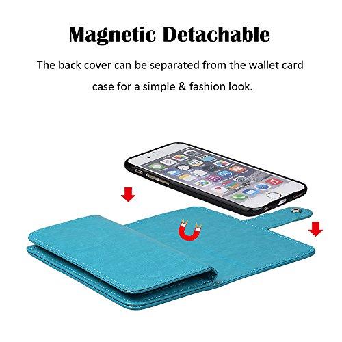 """xhorizon TM [Aktualisiert] FM8 2 in 1 führend DesignTop Notch Bifold Magnetisch Car MountPhone Halter Kompatibel Folio LederBrieftasche Hülle für iPhone 7 Plus [5.5""""] mit 9H Ausgeglichenes GlasFil Blau"""