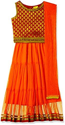 Elaisha Girl's Regular Fit Ghagra Choli (GC-22_Red_2-3 years)