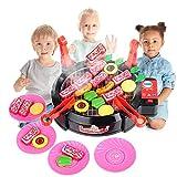 1Set Kinder BBQ Grill Pretend Spielset Küche Spielzeug Griddle Elektroherd Spielen Lebensmittel-Spielzeug mit Licht und Ton Jungen und Mädchen