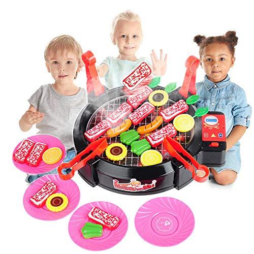 1Set Kinder BBQ Grill Pretend Spielset Küche Spielzeug Griddle Elektroherd Spielen Lebensmittel-Spielzeug mit Licht und Ton Jungen und Mädchen - Bbq Grillplatte Teller