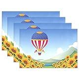SENNSEE Hot Air Luftballons Sonnenblume Tisch-Sets Home Teller Fußmatte Esstisch hitzebeständig Küche Tisch Matte 30,5x 45,7cm, blau, Polyester, Mehrfarbig, 1 Stück