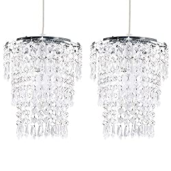 Pair of - Modern Chrome Chandelier Pendant Shades with Clear Acrylic Jewel Droplets