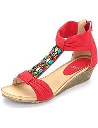 Alexis Leroy - Zapatos con tacón de cuña de estilo veraniego en forma de sandalia para mujer