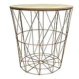 Design Metalltisch kupfer rund Metallkorb mit Holzdeckel Tisch Beistelltisch