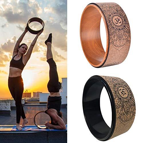 rosemaryrose Yoga Rad Yoga Wheel Kopfstandhocker -Naturkork Yoga Rad Fitness Rad Hohl Verbessernde Rückenbiegungen Stretch-Pilates Kreis Yoga Zubehör
