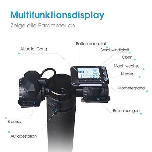 Elektroroller BEBK mit Samsung 4.4 Ah Batterie, Höchstgeschwindigkeit bis 23 km/h, Faltbar Licht Elektro Scooter für Jugendliche und Erwachsene (schwarz) - 5