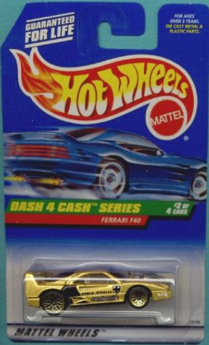 Hot Wheels - 1998 - Dash 4 Cash Series - Ferrari F40 - Gold Metallic Paint - 2 of 4 - Collector #722