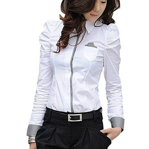 TLZC Damen Slim Office-Wear Plaid-Muster Langarm Top Shirts EU 36 Weiß (Top Puff-Ärmel Gestreift,)