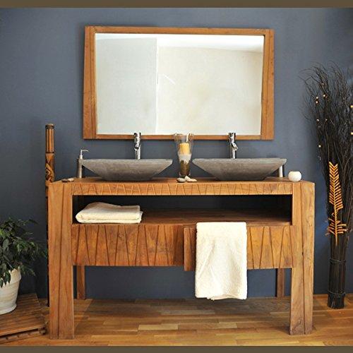 Saniteck france - Meuble et miroir de salle de bain en teck borneo + colonne en teck borneo + 2 vasques