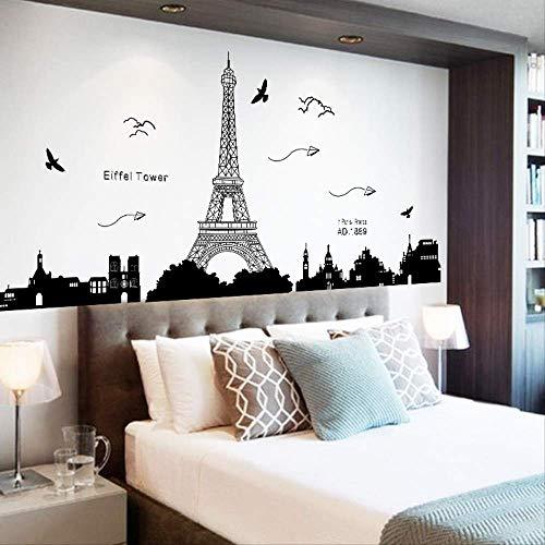 Schlafzimmer Wohnzimmer Wand Dekorative Aufkleber Paris Tower Silhouette Wasserdicht Wandaufkleber 60 X 90 Cm - Paris-wand-aufkleber