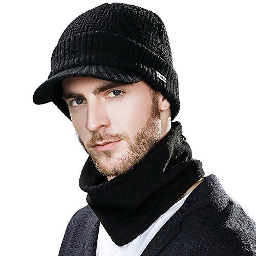 SIGGI Dicke warme Wolle Gestrickte Beanie Mütze mit Schirm Strickmütze Schal Herren Schwarz XL