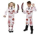 Déguisement accessoires pour enfant (Garçon) du Docteur tueur en série avec une blouse blanche de laboratoire + un couteau en plastique ensanglanté + un tube de faux sang et une paire de collants maculés de sang pour la petite fille. Idéal pour les fêtes d'Halloween. (Small)