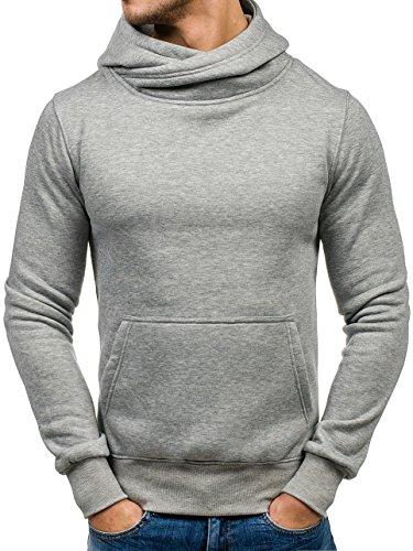 BOLF Herren Kapuzenpullover Sweatshirt Langarmshirt Pulli Hoodie Basic 1A1 Grau