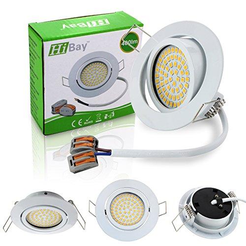 HiBay Ultra Flach LED Einbaustrahler - Tolles Design - Warmweiss - 3,5W Leuchtmittel 230V Weiß Schwenkbar - Einbauspots - 4 Stück Einbauleuchten