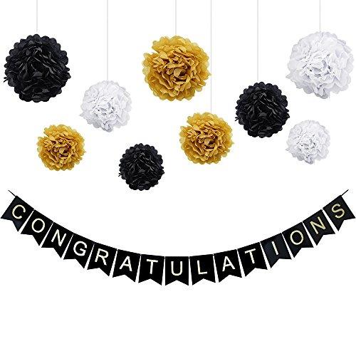 ückwunsch Dekorationen Kit - Glückwunsch Black Banner Schimmernde Gold Buchstaben, 9 Stück Seidenpapier Pom Poms Blumengirlande für Geburtstag, Ruhestand, Jubiläum, Graduation Party (Gold-herzlichen Glückwunsch-banner)