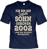 T-Shirt 16 Geburtstag - Geburtstagsshirt Sprüche Jahrgang 2002 : Ich Bin ein Super Sohn Geboren 2002 - Geschenk-Shirt Zum 16.Geburtstag Junge Gr: L