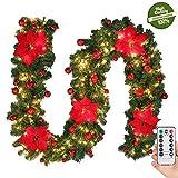 Morbuy Weihnachtsgirlande mit Beleuchtung, Tannengirlande Remote 8 Modus Lichterkette Weihnachten Dekoration 2.7 Meter für Innen und Außen Verwendba (Rot)