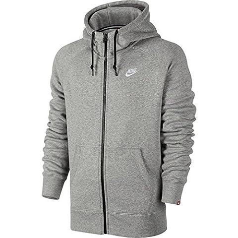 NIKE sweat-shirt à capuche pour homme full zip fleece XL Gris - Gris foncé/Blanc