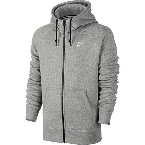 Nike Herren Kapuzenjacke Fleece Full-Zip, dk grey heather/white, XXL, 598759-066 (Dk Herren-kapuzen-zip-sweatshirt)