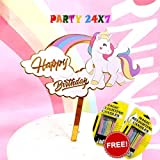 Party 24x7 Cake Toppers (Unicorn) with Magic Candles (10 pc) Unicorn Theme Birthday Decoration
