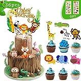 Coolba Animali Cupcake Topper, Toppers Torta di Compleanno Animali Jungle,Safari Tema Festa Leone Ippopotamo Scimmia Elefante Zebra Coccodrillo per Decorazioni Torte Bambini,Baby Shower Compleanno