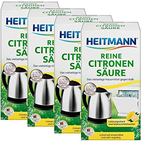 Heitmann Reine Citronensäure: Universalentkalker für Küche und Bad, natürlicher Entkalker, 4x375 Gramm