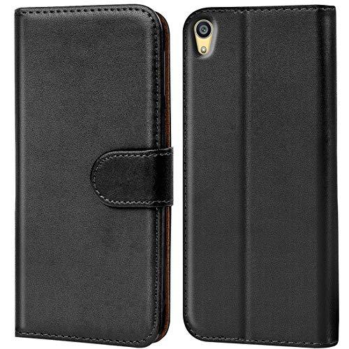 Verco Xperia Z3 Plus Hülle, Handyhülle für Sony Xperia Z3+ Tasche PU Leder Flip Case Brieftasche - Schwarz
