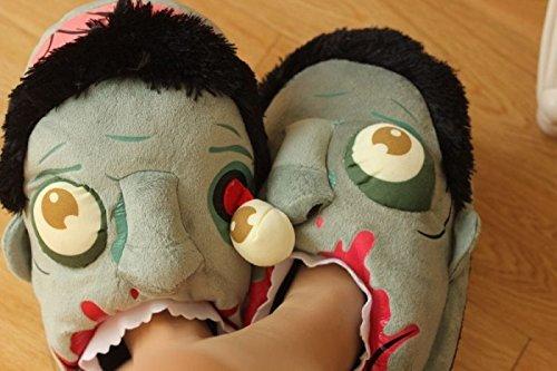 lifewheel Unisexe Chaussons en peluche Zombie Halloween cadeau idéal Funny coton maison pantoufles chaussures cosplay costume full coverage