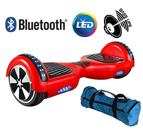 \'Hoverboard Elektro Scooter Two Wheels Elektro Overboard, Balance Scooter Skateboard mit LED, zwei Rädern 6.5 Rot mit Zertifizierung UL 2272