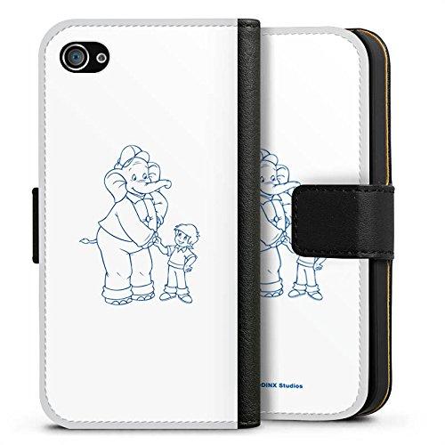 Apple iPhone X Silikon Hülle Case Schutzhülle Benjamin Blümchen Fanartikel Merchandise Der sprechende Elefan Sideflip Tasche schwarz