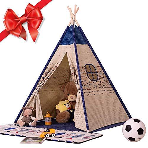 Tipi Tente pour Enfants Tente de Jeu en Toile de Coton pour Enfants Teepee Playhouse Tente de Jeu Indienne Classique pour Enfants garçons/Filles intérieur ou extérieur (Hauteur 1,56 m)
