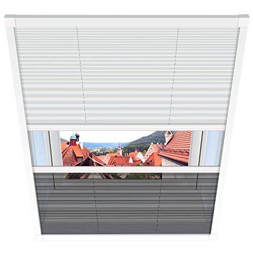 1PLUS Fliegengitter Plissee für Dachfenster Insektenschutz Dachfensterplissee in weiß in verschiedenen Größen und Varianten (114, Duo-Plissee)