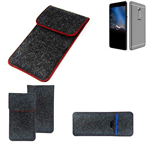K-S-Trade® Filz Schutz Hülle Für -Phicomm Energy 4s- Schutzhülle Filztasche Pouch Tasche Case Sleeve Handyhülle Filzhülle Dunkelgrau Roter Rand