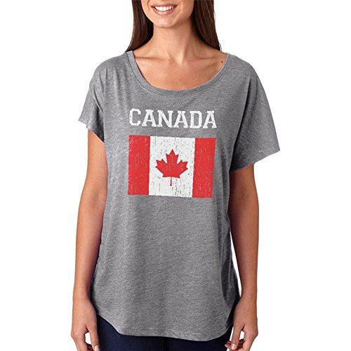Old Glory WM-Distressed Fahne Canada Juniors Dolman T-Shirt Heather X-LG (Graphic T-shirt Dolman)