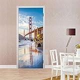 Wandaufkleber nach Hause 3D personalisierte dekorative Tür Aufkleber Schlafzimmer Tür Renovierung, Brücke Wandaufkleber 77 × 200 cm