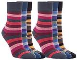 Vitasox 11966 Damen Socken Bambus Bambussocken Damensocken Ringelsocken ohne Gummi ohne Naht bunt Ringel 12 Paar 35/38